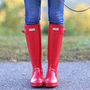 Hunter Red Glossy Tall Boots w/ Hunter Boot Socks